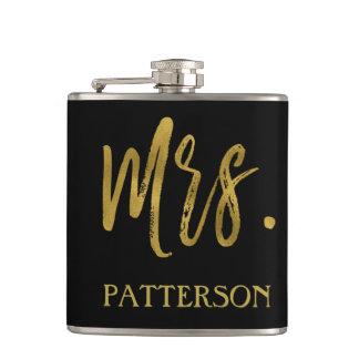Mrs. Last Name Flask with Gold Foil Typography