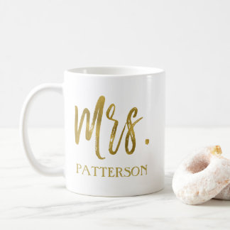 Mrs. last name Gold Foil Wedding Coffee Cup