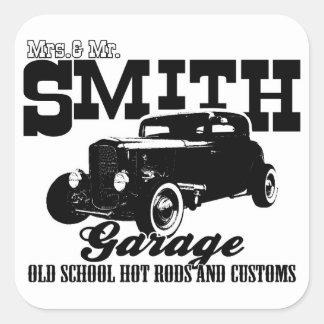 Mrs.& Mr. Smith Hot-Rod Garage Square Sticker