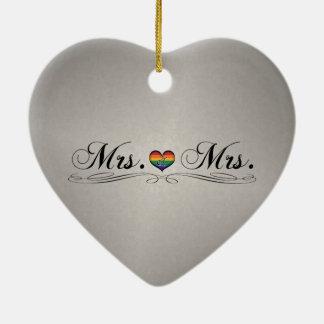 Mrs. & Mrs. Lesbian Design Ceramic Ornament