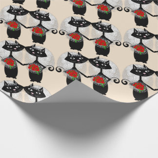 Mrs + Mrs Lesbian Marriage Cat Cute Brides Wedding Wrapping Paper