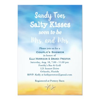 Mrs. & Mrs Sandy Toes Couple's Shower - sky & sand Invitation