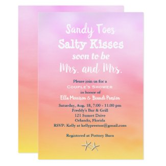 Mrs. & Mrs. Sandy Toes Couple's Shower sunset Card