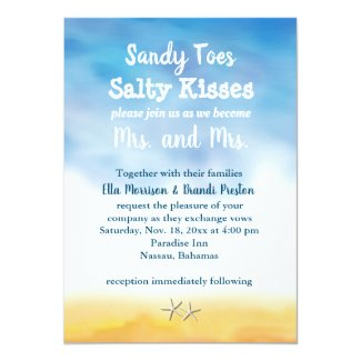Mrs. & Mrs. Sandy Toes Wedding Invite - sky & sand