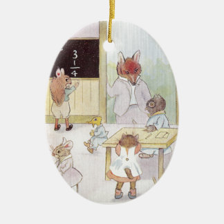 Mrs. Owl's School Visited by Fox Vintage Ceramic Ornament