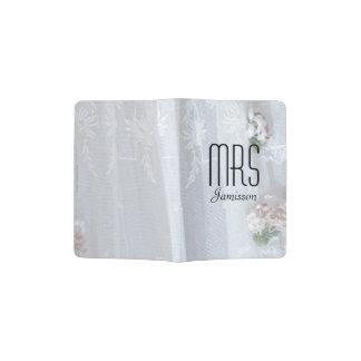 """""""Mrs"""" Passport Holder, Vintage Lace Wedding Dress Passport Holder"""