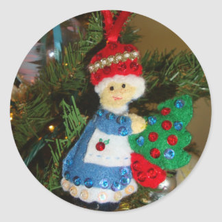 Mrs Santa Claus Christmas Sticker Stamp