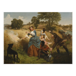 Mrs. Schuyler Burning Her Fields - Leutze (1852) Poster
