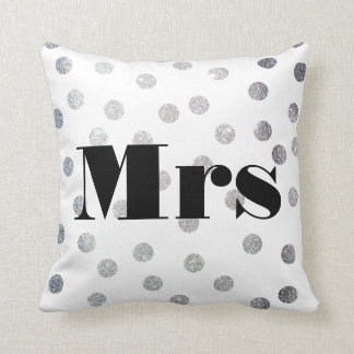 Mrs Silver Glitter Dots Reversible Black and White Throw Pillow