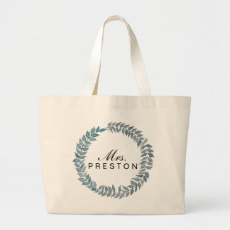 Mrs. Steel Blue Vine | Watercolor Wreath Large Tote Bag
