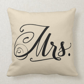 Mrs. Typography Square Throw Pillow