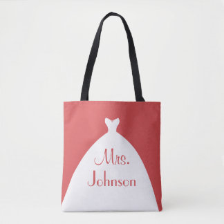 Mrs. Wedding Gown Red and White Tote Bag