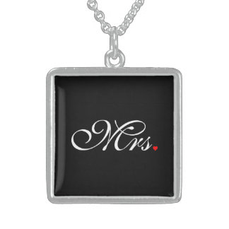 Mrs. Wife Bride His Hers Newly Weds Square Pendant Necklace