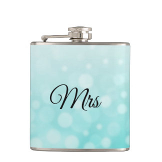 Mrs Wife Hers Teal Flask