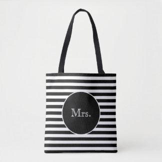 Mrs. with Black & White Stripes Tote Bag