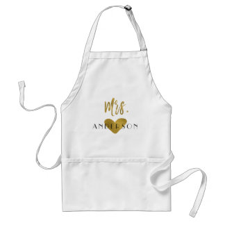 Mrs. Your Last Name Faux Gold Foil with Heart Standard Apron
