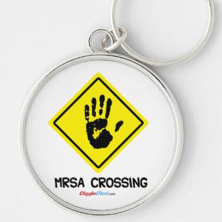 MRSA Crossing Sign Keychain