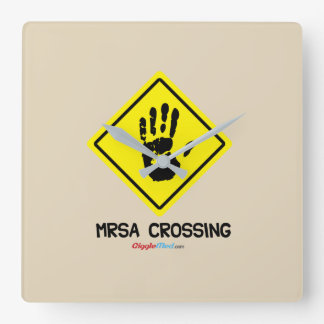 MRSA Crossing Sign Square Wall Clock