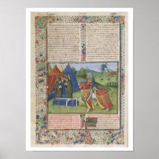 Ms 115 f.425v Lancelot Killing Sir Agravain (vellu Poster