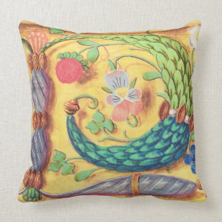 Ms 134 Illuminated letter `P' decorated with flowe Throw Pillow
