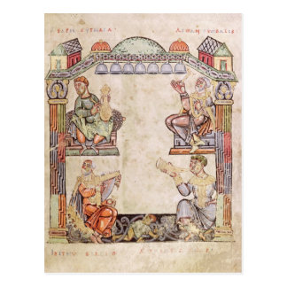 Ms 2 fol.11  Four Musicians, from a Book of Hours Postcard