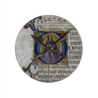 Ms 531 f.169v Historiated initial 'D' depicting Ki Clocks