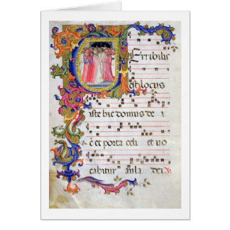 Ms 557 f.61v Page with historiated initial 'U' dep Card