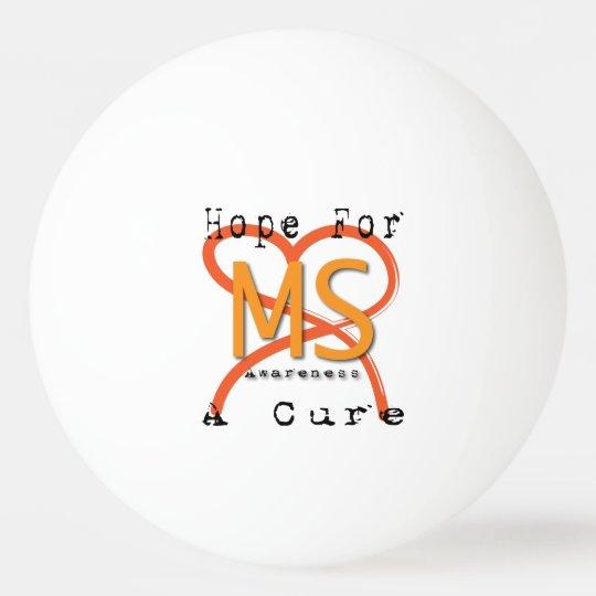 MS Awareness Three Star Ping Pong Ball, White Ping Pong Ball