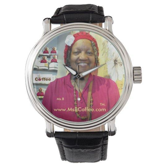 Ms. B Coffee-Black Vintage Leather Watch