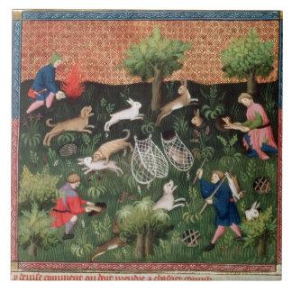 Ms Fr 616 fol.92 Hunting hares, from the Livre de Tile