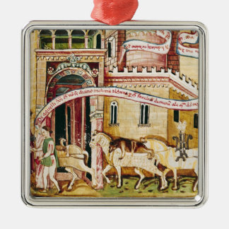 Ms H. V-5 Taxing the merchants Silver-Colored Square Ornament