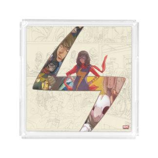 Ms. Marvel Comic Panel Logo Acrylic Tray