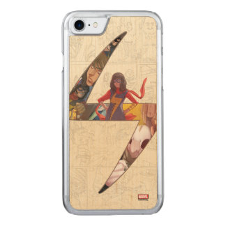 Ms. Marvel Comic Panel Logo Carved iPhone 8/7 Case