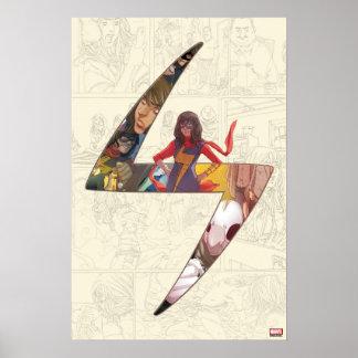 Ms. Marvel Comic Panel Logo Poster