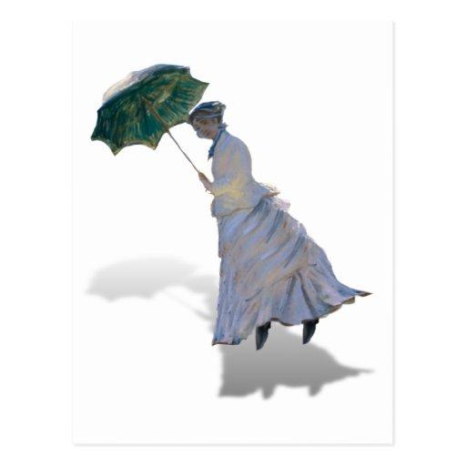 Ms Monet  with Umbrella Post Card