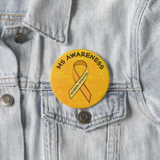 MS Multiple Sclerosis ORANGE Ribbon Button