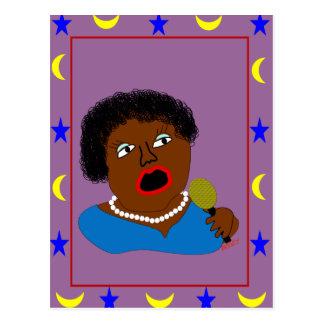 Ms. Perl Sings The Blues - Blues Folk Art Postcard