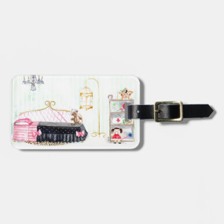 Ms. Pig E. Banks Child`s Bedroom Watercolor Art Luggage Tag