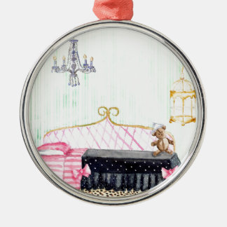 Ms. Pig E. Banks Child`s Bedroom Watercolor Art Metal Ornament