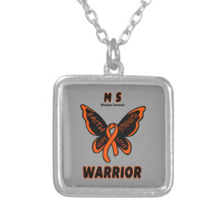 MS WARRIOR/ torn ribbon Silver Plated Necklace