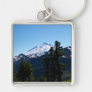 Mt Baker in Summer Silver-Colored Square Keychain