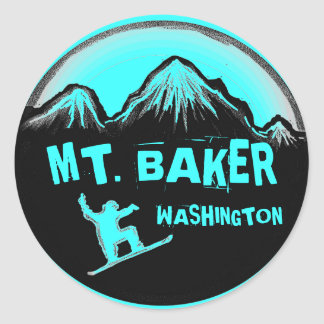 Mt. Baker Washington teal snowboard stickers