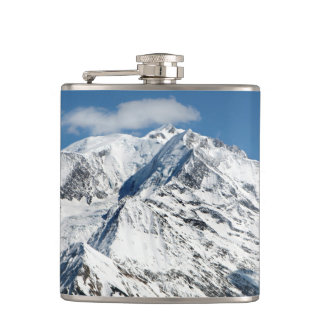 Mt. Blanc with clouds. Hip Flask