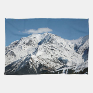 Mt. Blanc with clouds. Kitchen Towel