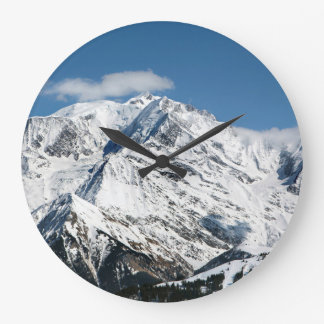 Mt. Blanc with clouds. Large Clock