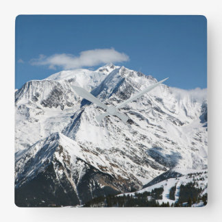 Mt. Blanc with clouds. Square Wall Clock