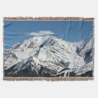 Mt. Blanc with clouds. Throw Blanket