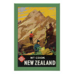 Mt Cook New Zealand (border) Poster