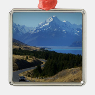 Mt. Cook, New Zealand Silver-Colored Square Ornament