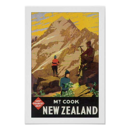 Mt Cook New Zealand (white) Poster